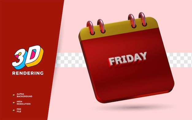 Il calendario venerdì 3d rende le illustrazioni dell'oggetto isolato