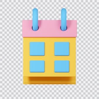 Icona del calendario isolato su bianco 3d reso image