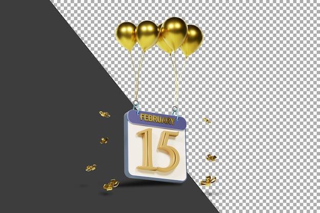 Calendario mese 15 febbraio con palloncini dorati rendering 3d isolato