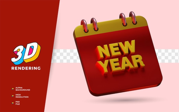 Il calendario del nuovo anno 2022 3d rende l'illustrazione dell'oggetto isolato