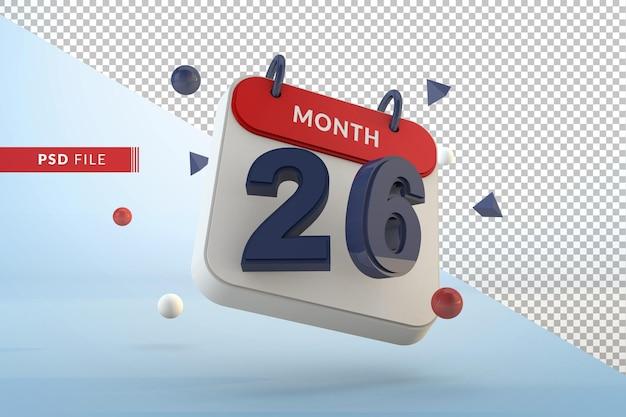 Modello 3d isolato numero 26 del calendario render