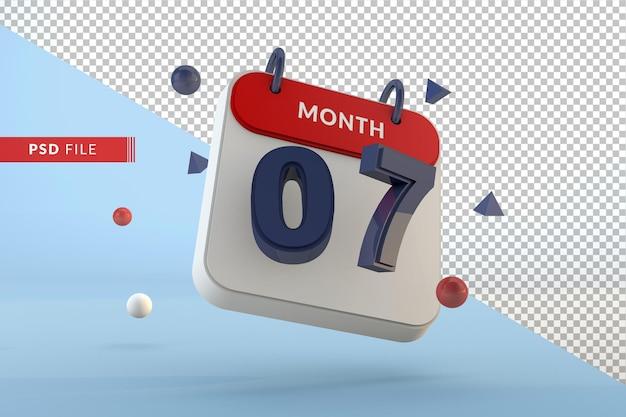 Calendario numero 7 modello isolato 3d render