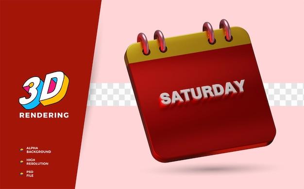 Il calendario sabato 3d rende le illustrazioni dell'oggetto isolato