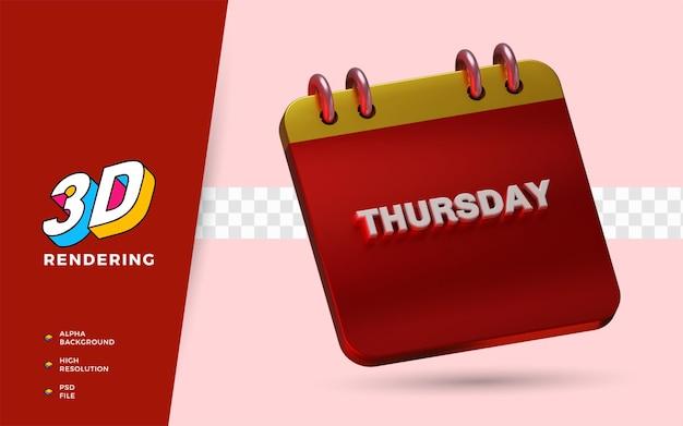 Il calendario giovedì 3d rende le illustrazioni dell'oggetto isolato
