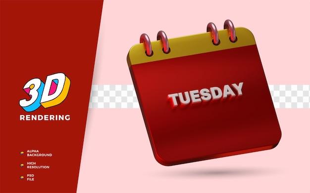 Il calendario martedì 3d rende le illustrazioni dell'oggetto isolato