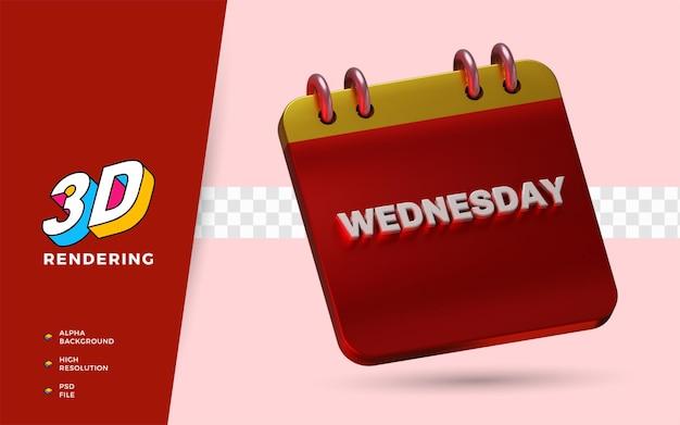 Il calendario mercoledì 3d rende le illustrazioni dell'oggetto isolato