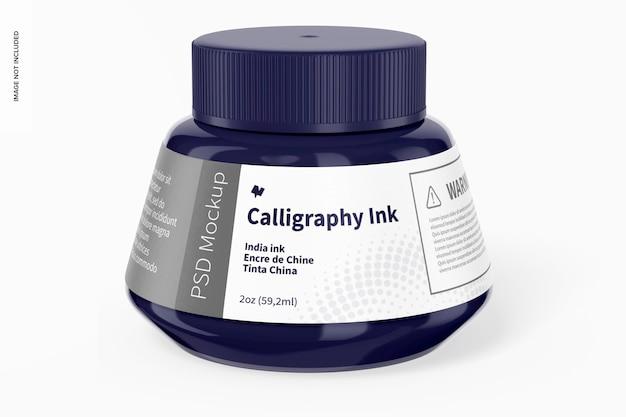 Mockup di inchiostro per calligrafia, vista frontale