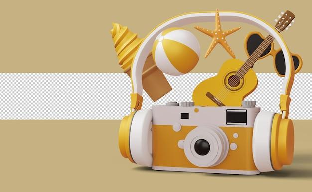 Fotocamera che indossa cuffie con accessorio estivo, stagione estiva, rendering 3d