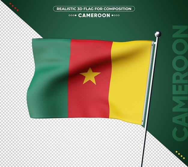 Bandiera del camerun 3d con texture realistica