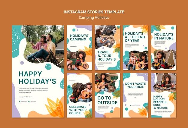 Modello di storie di instagram di vacanze in campeggio