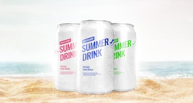 Può mockup pubblicitario sulla spiaggia?