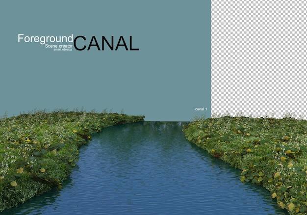 Vista sul canale e piante sul lungomare