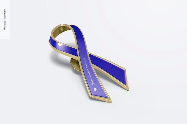 Mockup di pin di consapevolezza del cancro, vista prospettica