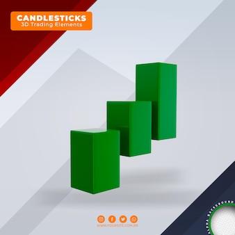 Segnali di acquisto e vendita di candele elementi di tendenza del trading forex 3d per la composizione