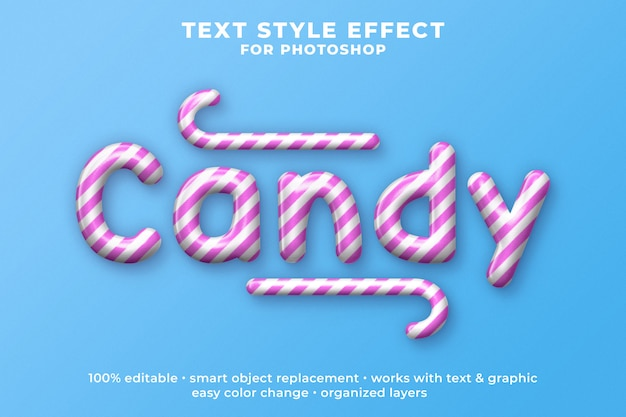 Modello psd effetto testo stile candy 3d