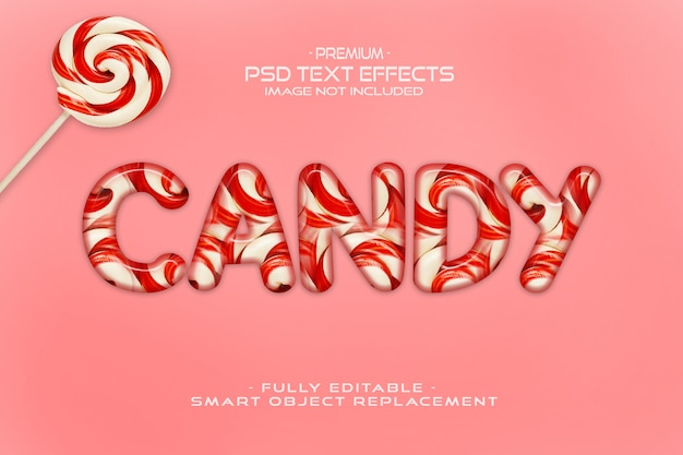 Mockup effetto testo di candy