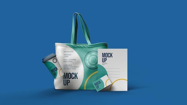 Sacchetto di tela tazza di carta letterhad buciness card mockup design isolato