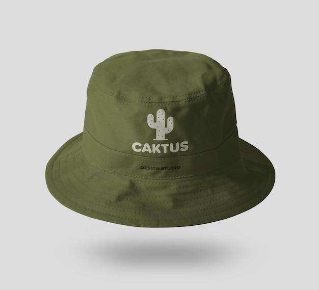 Modello di mockup del cappello della benna di tela