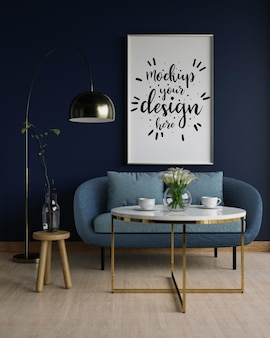 Mockup di tela, arte della parete in soggiorno