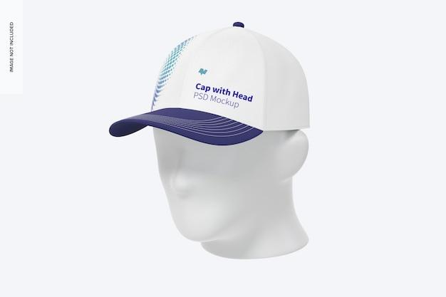 Cappuccio con testa mockup, vista anteriore destra 3/4