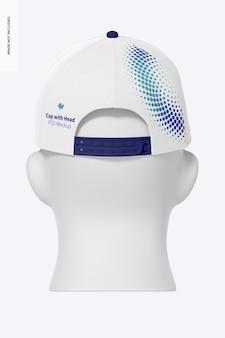 Cappellino con testa mockup, vista posteriore