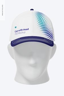 Cappuccio con testa mockup, vista frontale