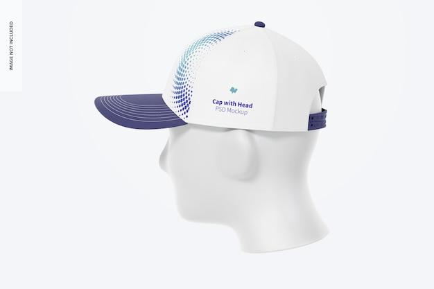 Cappellino con testa mockup, vista da destra