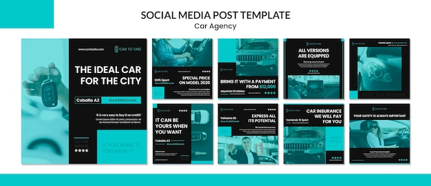 Modello di post di social media agenzia di auto
