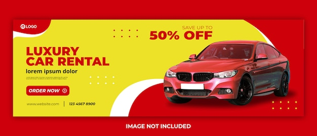 Modello web moderno banner di noleggio auto premium