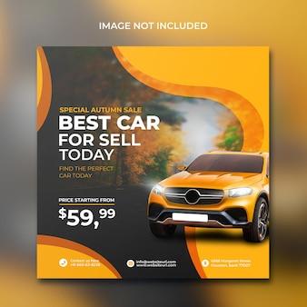 Volantino per la promozione del noleggio auto sui social media post design in modello di sfondo arancione