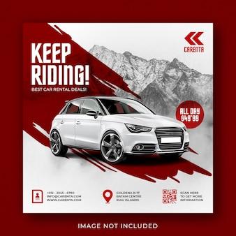 Modello di banner post instagram di social media per la promozione del noleggio auto
