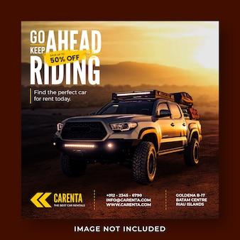 Modello di banner post instagram social media di promozione noleggio auto