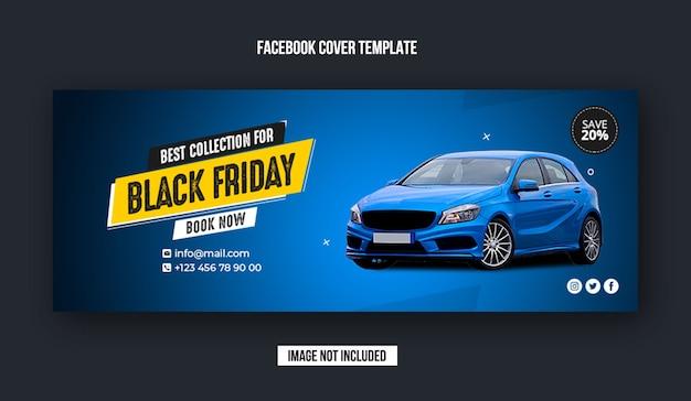 Banner di copertina di facebook per la vendita di auto