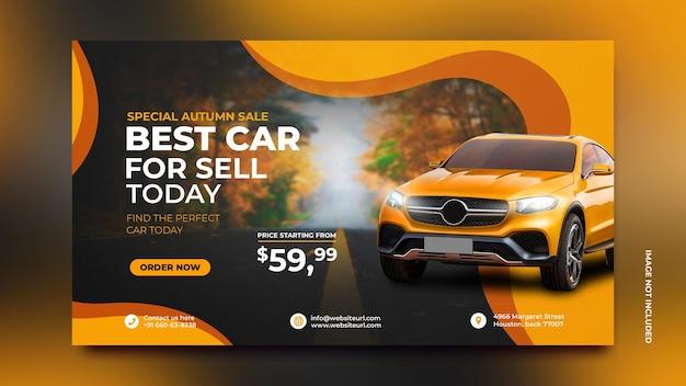 Modello di progettazione banner social media promozione vendita auto in sfondo arancione