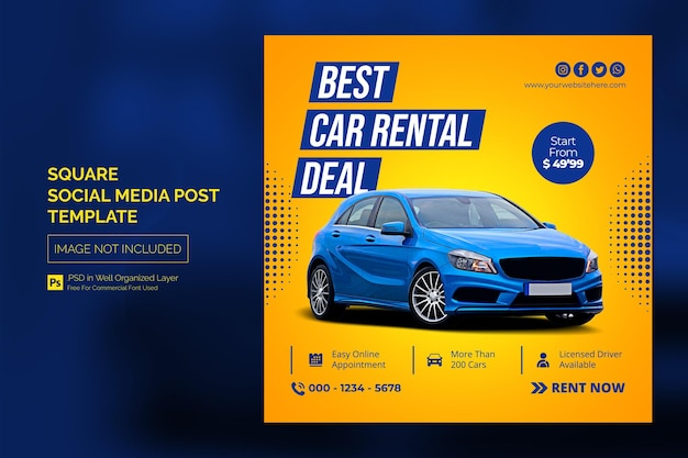 Car social media instagram post o square web banner advertising template