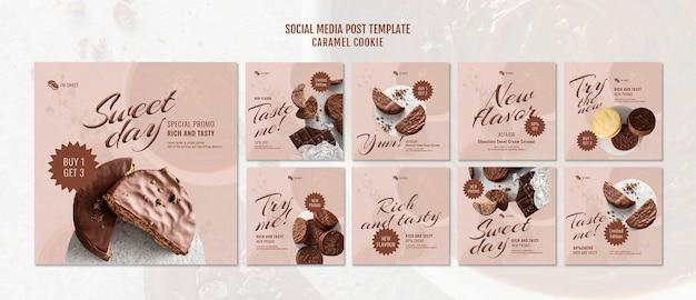 Post sui social media con biscotti al caramello
