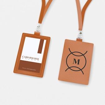 Mockup di porta carte per carte d'identità anteriori e posteriori con design in pelle marrone