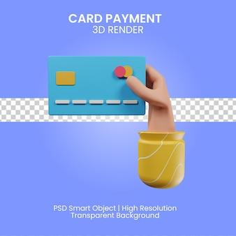 Il pagamento con carta 3d rende l'illustrazione isolata
