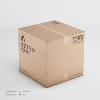 Scatola di cartone mockup rendering 3d isolato