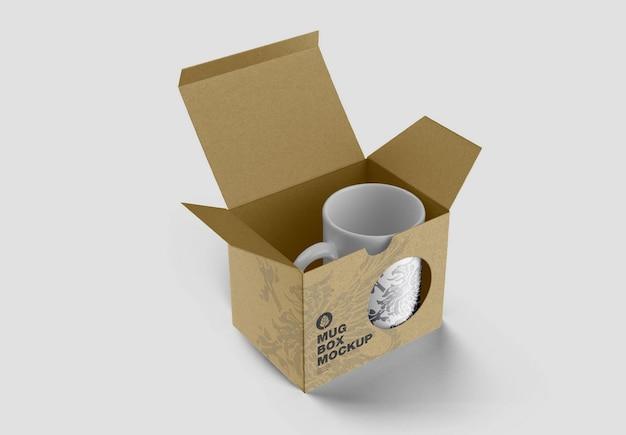 Scatola di cartone con mockup di tazza
