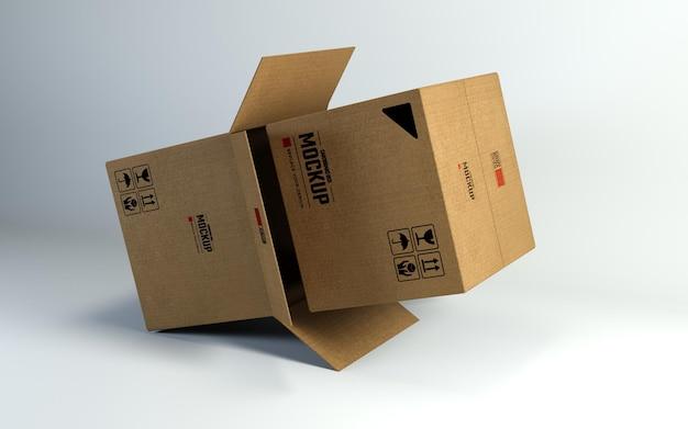 Modello di progettazione mockup di scatole di cartone