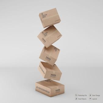 Scatole di cartone rendering mockup isolato