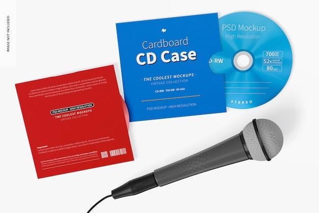 Custodia per cd in cartone con mockup di microfono