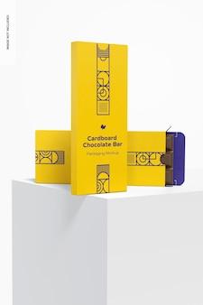 Mockup di confezionamento di barrette di cioccolato in cartone, caduto