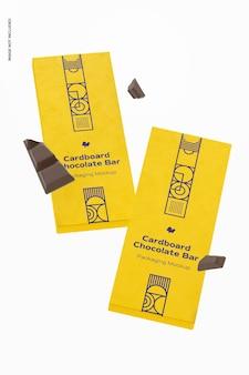 Mockup di imballaggio di barretta di cioccolato in cartone, galleggiante