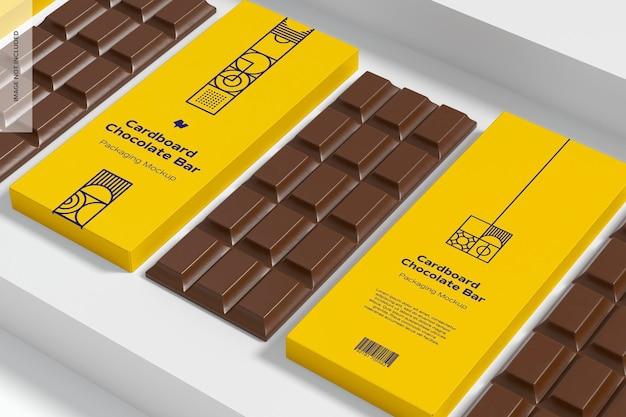 Mockup di imballaggio di barrette di cioccolato in cartone
