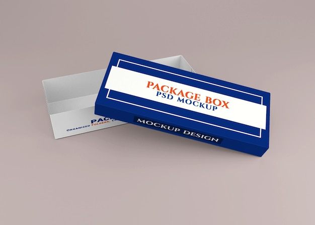 Design del mockup della scatola del pacchetto di cartone