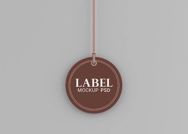 Mockup di tag etichetta arrotondata in cartone