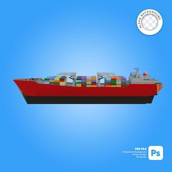 Oggetto 3d di vista laterale della nave da carico