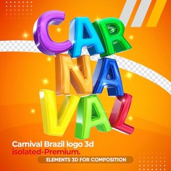 Il carnevale brasile colora il logo 3d nella rappresentazione 3d